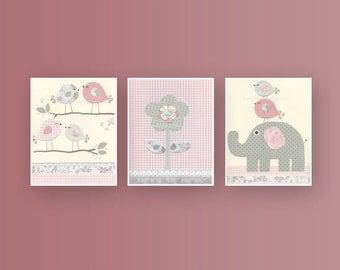 Girl Nursery Decor, Girl Nursery Art, Baby Girl Nursery Wall Art, Baby Girl Nursery, Girl Nursery Art, Light Pink and Gray set of 3 prints