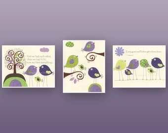 Baby girl Room Decor Nursery Art birds..Violet Green Baby Bird, love birds, Set of 3 prints, purple, apple green, lavender , lime wall art