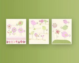 Nursery Decor: Children Wall Decor, Baby Room Decor, Set of 3 8x10 Prints in Pale Pink and Green, Love Birds Nursery Decor Theme