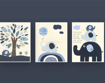 Nursery tree Art Print, Baby Boy Nursery Print, Boy Nursery Art, Harper, kids room art,  Set of 3 Prints, Indigo Blue, White Elephant