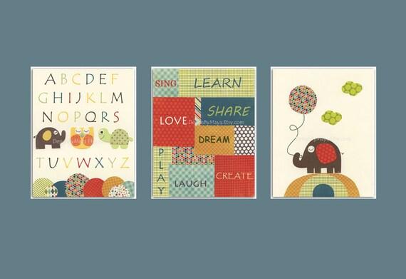 Nursery Art Print, Kids Wall Art, Word Wall Art, Alpahbet Wall Art // Elephant Owl Turtle // Colors Red Brown Teal // Set of 3 8x10 Prints