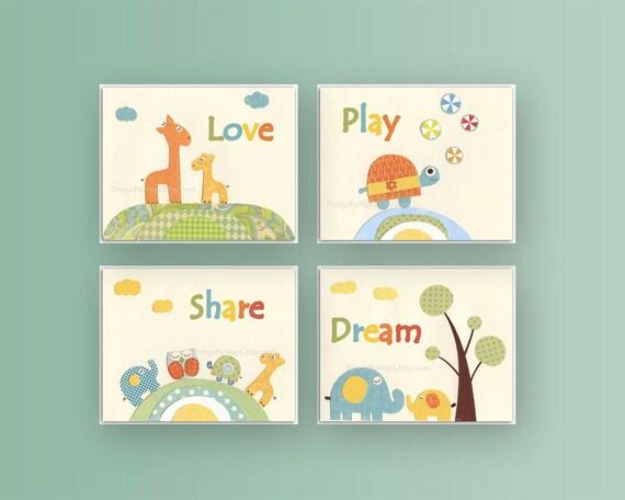 kids wall art decor nursery art prints baby room decor. Black Bedroom Furniture Sets. Home Design Ideas