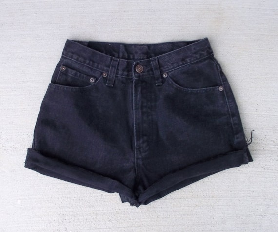 "CLEARANCE SALE - Distressed Shorts High Waist Vintage Black Denim Cut Offs - US Size 4/5/6 - 26"" Waist - Priority Shipping"