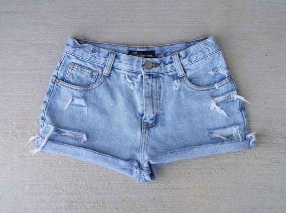 """Reserved for Danielle O - High Waist Shorts Distressed Denim Cut Offs - US Size 3/4 - 26"""" Waist  -  Priority Shipping"""