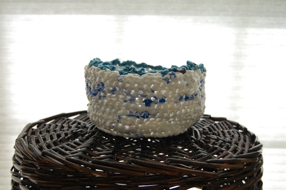White and Blue Crocheted Basket