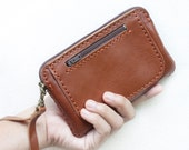 SALE, Hand Sewn Leather Wristlet Pouch in Brown