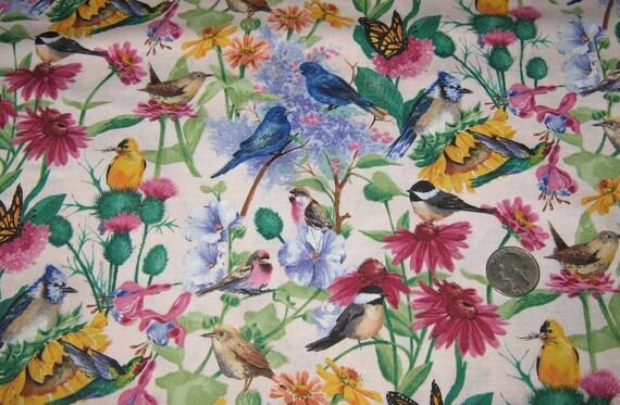"Daisy Kingdom Birds of the Air Cotton Fabric yard 42"" x 36"" , Butterfly, Sunflowers"