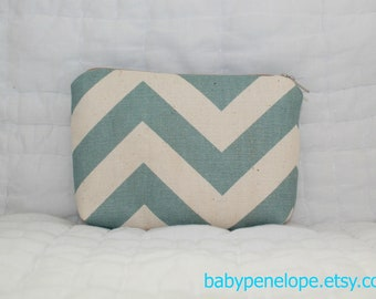 Padded Cosmetic Bag/ Gadget Case - Chevron - Blue and Cream
