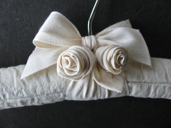 Quilted Bridal Hanger, Animal Texture Pattern with Handmade Rosettes made of Organic Santin Ribbon
