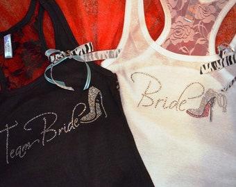 Wedding Party Bridesmaid Lace Tank Top Shirt : Bride stellito crystal rhinestone razor back Tank Top Shirt Package mozTREND