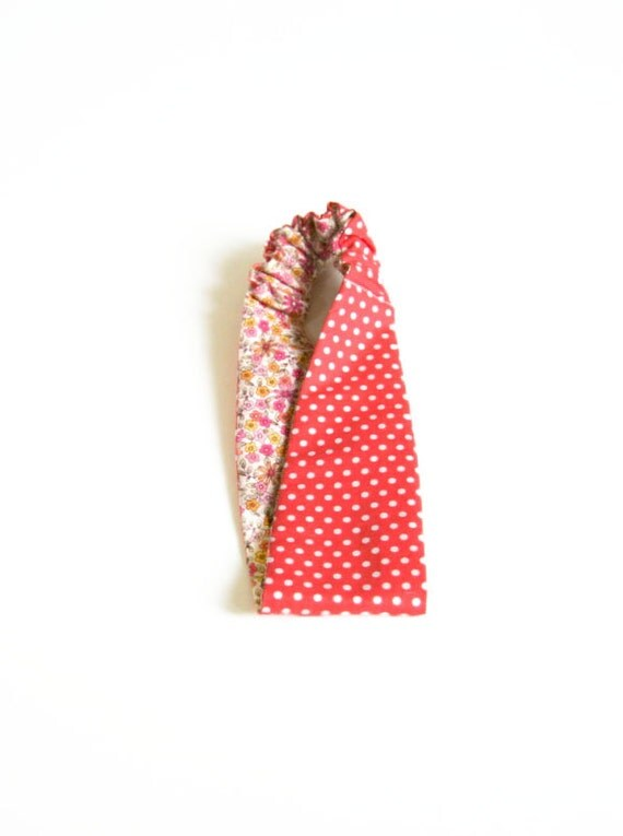 polka dots and floral headband / reversible / spring fashion / orange / pink / flowers / summer
