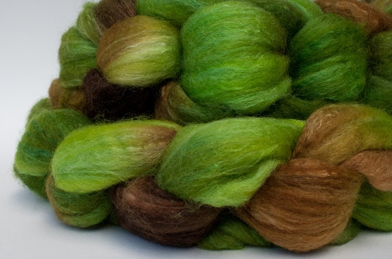 Merino, superwash merino, and silk handpainted combed top (roving): PIPPIN, 4 oz