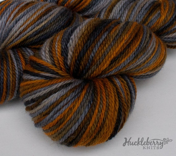 Hand-dyed Blue-Faced Leicester aran yarn (British BFL): Bronze Age, 4.4 oz