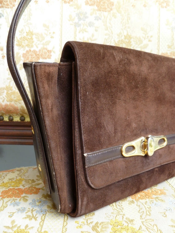 1960s vintage chocolate brown suede handbag purse