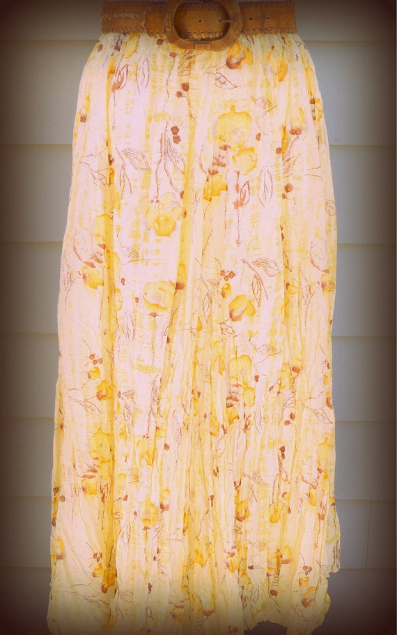 Vintage yellow floral crinkled silk maxi skirt
