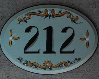 ceramic address plaque hand painted custom house sign w. Black Bedroom Furniture Sets. Home Design Ideas