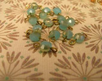 BL3 Handmade Pre made Linked Bead connectors Sea foam green opal crystals 6x4mm 6 pcs.
