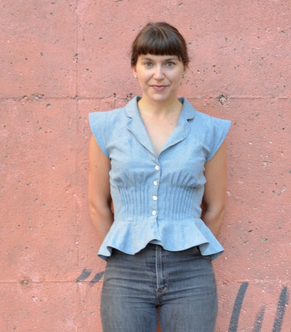 Peplum Blouse with Tucks //  Light Blue Chambray //  Made to Order