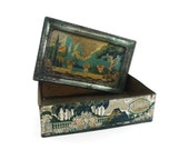 Collectible tin - Artstyle Chocolates 1920s - silver teal green