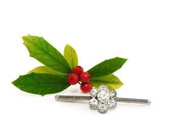 Rhinestone collar clip - diamante silver sweater clip