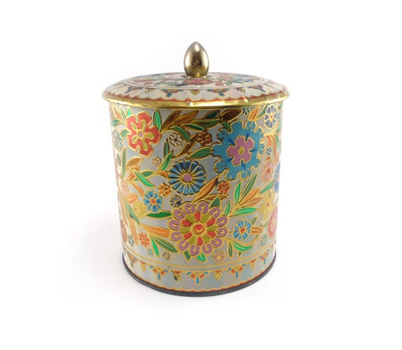 Flower explosion - brightly colored repousse tin