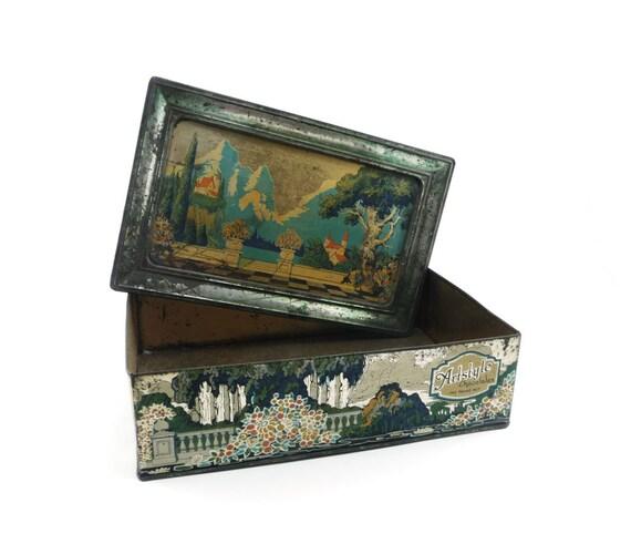 Collectible tin - Artstyle Chocolates 1920s - silver teal green