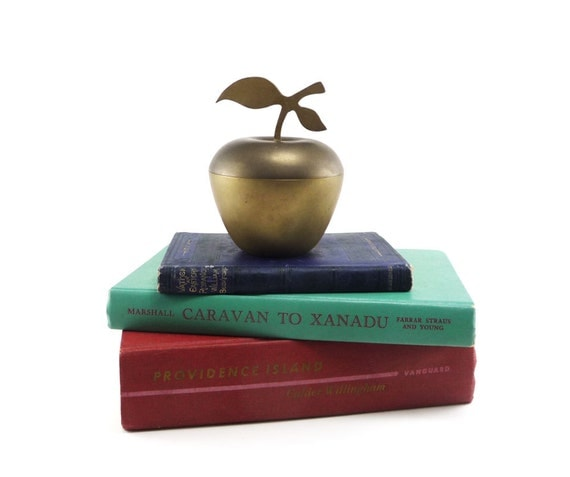 Apple for teacher - vintage brass apple dish