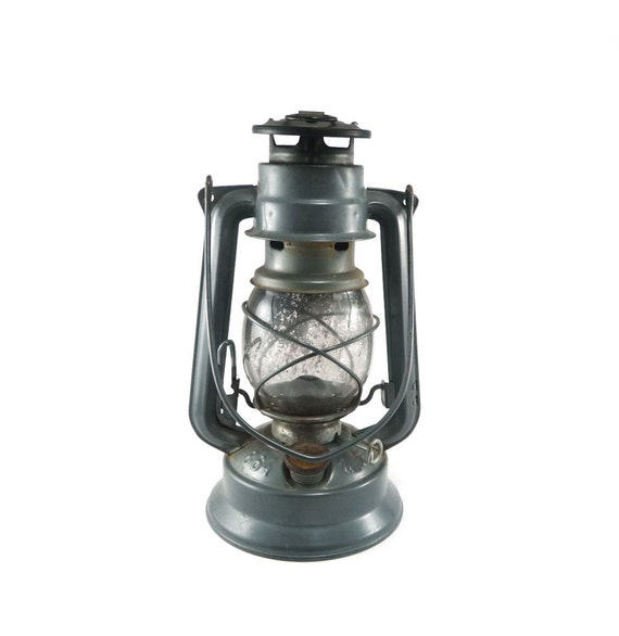 Vintage railroad lantern - titanium gray, Meva Czech 864, charcoal, industrial decor