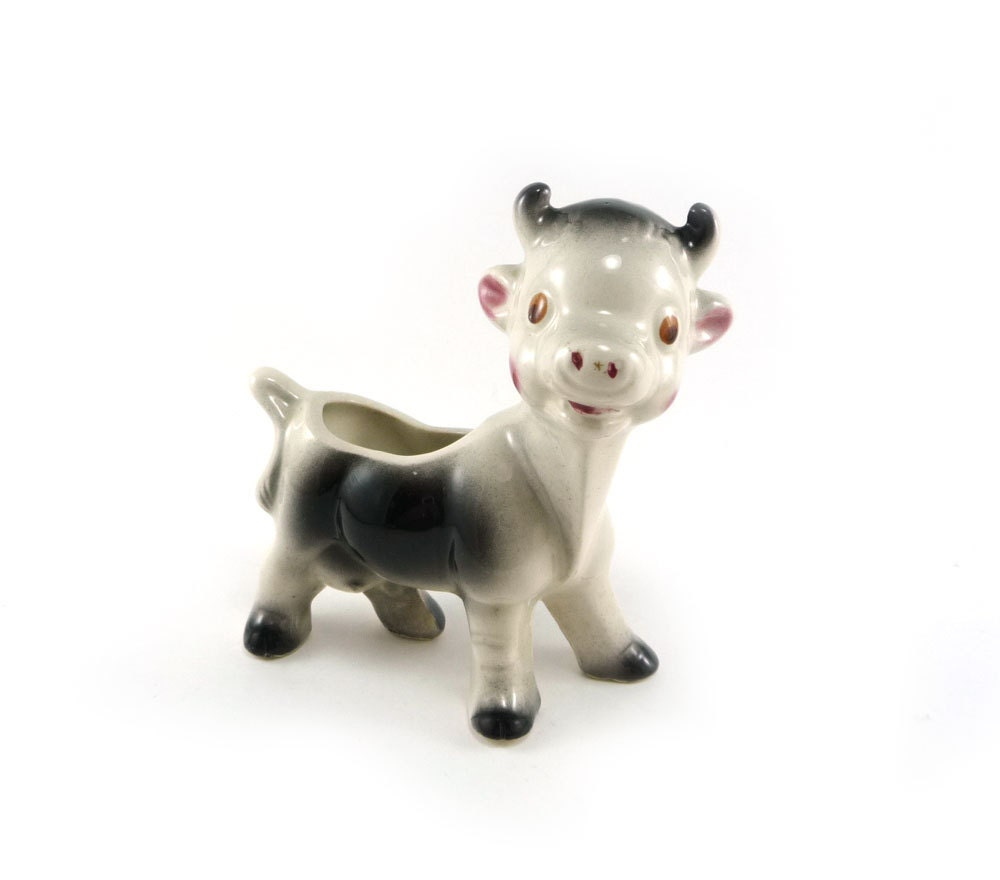Milky The Cow Vintage Ceramic Planter Black And White Rustic
