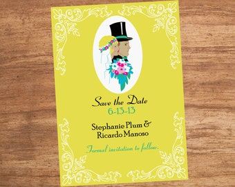 Art Deco Profiles Wedding Save The Date Card Invitation
