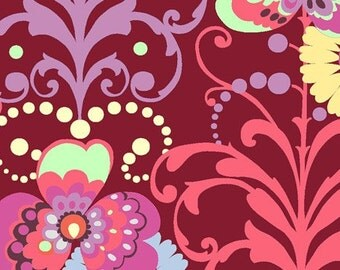 Amy Butler Fabric - Love Paradise Garden Wine - 1 Yard