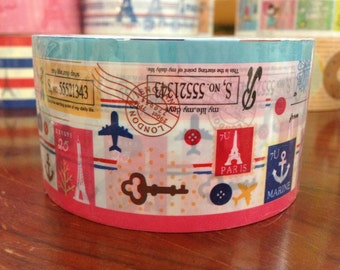 French theme Deco Duct Tape - Eiffel Tower & Keys patchwork 49ft DTB145