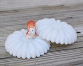 Vintage white milk glass daisy candleholders, decor, paperweights
