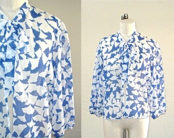 Vintage sheer blouse FALLING FLOWERS blue and white open front with ascot - S/M