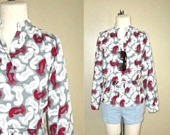 SALE - Vintage 70s blouse BIRD PRINT retro tunic - M