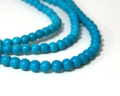 4mm Chalk Turquoise beads, round gemstone bead strand (582S)