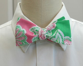 Lilly Bow Tie in  pink & green Hit the Spot (self-tie)