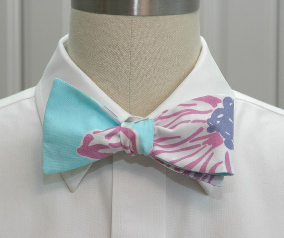 """Men's Bow Tie in Lilly  aqua and lilac """"To Paulie"""" design"""