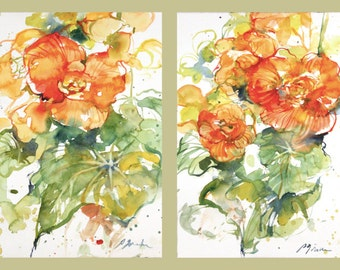 Diptych No.14 flowers, limited edition of 50 fine art giclee prints from my original paintings