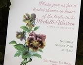 Pansy Wedding Invitation / Bridal Shower Invitations (print at home)