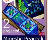 Peacock pdf Pattern book for Faux Stained Glass and Quilted Table Runner Projects, quilting, decorations, blue, teal