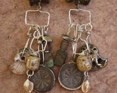 Extra Long Shoulder Duster Earrings with Roman Glass, Basha Beads, Buddhist Amulets, Pearlized Ammonites, Found Objects, Sterling Silver