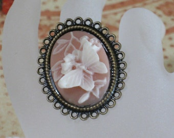 Butterfly Kisses Cameo Ring In Peach Antiqued Brass Adjustable Filigree Band