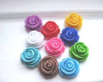 Rose Bead 23mm in Assorted Colours x 10 pcs