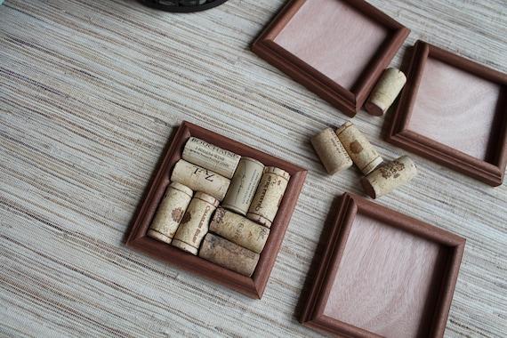 Wine Cork Coasters - DIY set of 4 - rustic rare reclaimed mahogany wood - rare craft kit