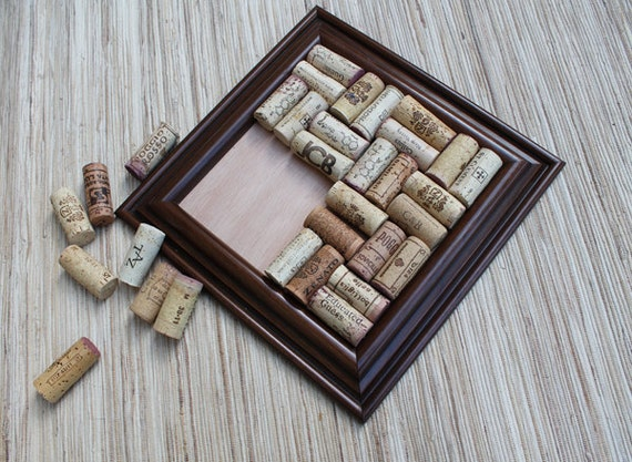 Cork Trivet  - DIY wine cork trivet reclaimed wood frame - large coaster, hot plate, recycled wine corks