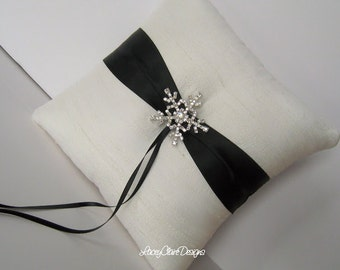 Ring Bearer Pillow Custom Wedding Ring Pillow Dupioni Silk Winter Wedding Snowflake Ring Pillow