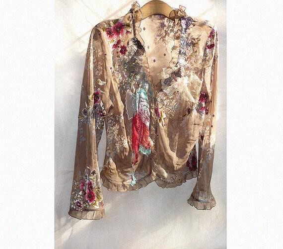 Lovely Unique Elegant Party Jacket SCARLET FLOWERS Twenties Hippi Edvardian  Boho Wilde Summer very Feminine