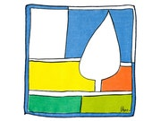 RARE VERA HANKIE 1960s Abstract Color Block Design Mod Op Tree Blue Greens Yellow Collectible, Excellent Cond.
