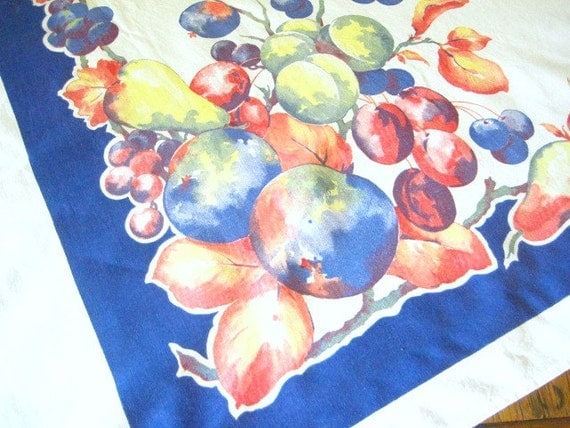 Retro Printed Tablecloth, Mid Century, Ripe Plums in Blue Red & Green, Royal Blue Border, Water Color, Excellent Condition